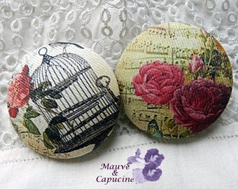 2 fabric buttons,   shabby, 1.25 in / 32 mm