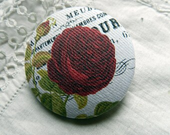 Fabric design with red rose bud, 1.57 in / 40 mm