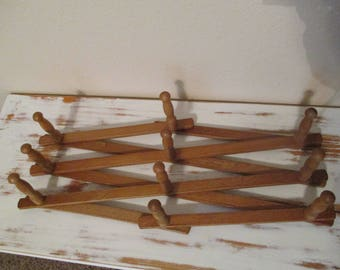 Vintage Large Expandable Wood Peg Rack