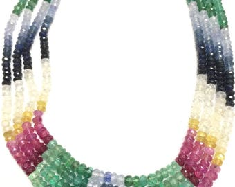 Multi Sapphire Faceted Rondelles - Graduated 2-4mm Necklace