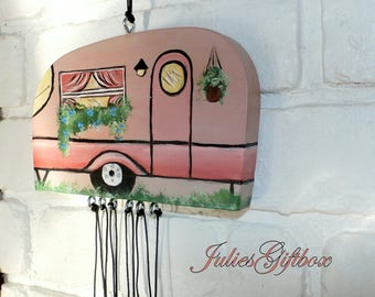 Hand Crafted Wood Travel Trailer Camper Wind Chime Hand Painted-Exclusive One of A Kind-Original Design By JuliesGiftbox-(HCWC-TT0009)