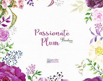 Purple flower clipart, purple roses clipart, purple rose flower clipart, violet roses clipart, watercolor clipart, flower clipart roses