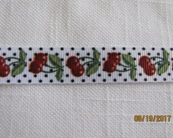 "Cherries with Black Dots 5/8"" Grosgrain Ribbon by the Yard"