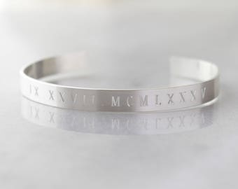 Sterling Silver Roman Numeral Engraved Cuff Bracelet- Remembrance Date, Engagement Date, Wedding Date, Child's Birthdate, Special Date