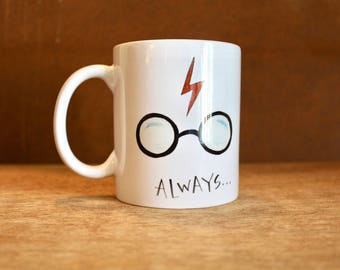 The Always Mug - Harry Potter Ceramic Mug - Heat-Press Sublimation of Original Watercolor Artwork - Harry's glasses, lightning scar, and owl