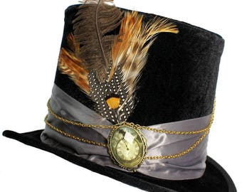 Tall Black Top Hat Time Geared Silver Steampunk Victorian Gentlemens Cosplay Mens
