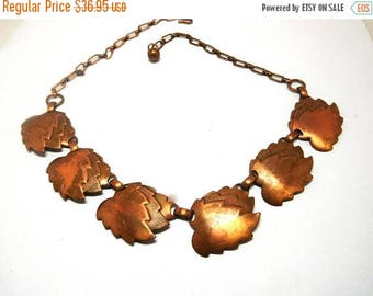 SALE Vintage Copper Leaves Necklace Art Deco Nature Boho Style Layer or wear alone!