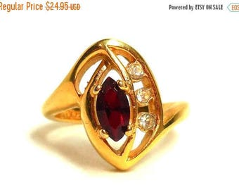 SALE Ruby Ring Womens 7 Ruby Red 18K Gold Plate Marquis cut Rhinestones July/January Birthstone Cocktails