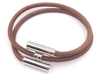 HERMES H Palladium and Leather Bracelt