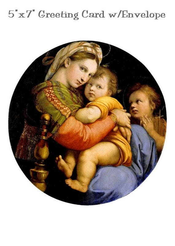 "Madonna Della Sedia, Raphael, Virgin Mary and Baby Jesus, 5"" x 7"" Christmas Card w/Envelope, Blank Inside, Religious Christmas Card"