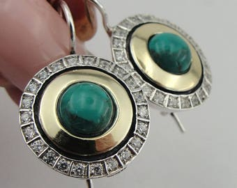 Turquoise Earrings, Handmade 9K yellow Gold Sterling Silver , Birthday Gift, green stone earrings, Dangle Round Earrings (ms 1334