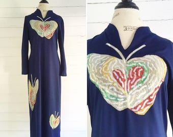 Vintage Dress - navy 1970s BUTTERFLY sequin maxi dress