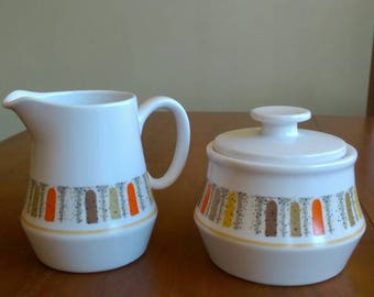 Vintage Noritake Mardi Gras sugar bowl and creamer