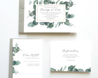 Eucalyptus Wedding Invitation, Botanical Wedding Invitation, Green Wedding Invitation, Wedding Invitation Suite, Wedding Invitation Set