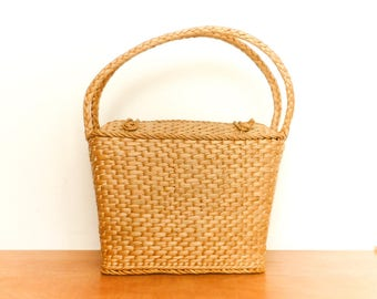 Vintage Straw Basket Bag / Wicker / Woven / Square / Beige / Picnic Market Bag / Large Big Spacious