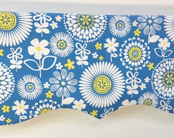 Custeom Valance Large Flowers Blue Yellow White Decorative Window Valance Home Decor READY TO SHIP