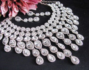 Pale Rose Gold Bib Style Statement Wedding Necklace Great Bridal Wedding Jewelry Pageant Jewelry Bridal Statement  Set Hollywood Style