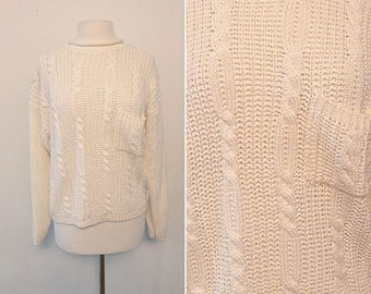 90's Italian White Cable Knit Sweater / Size Large