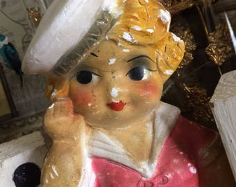 Even With Her Bumps & Bruises She's The Best Looking Vintage Chalkware Sailor Girl In Town