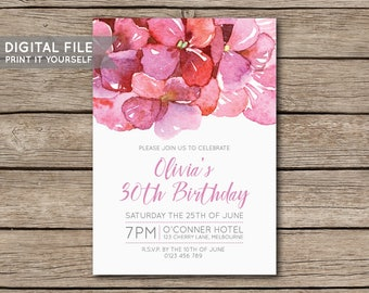 DIY Hydrangea Flower Watercolour Birthday Party Invitation, Invite, 18th, 21st, 30th, 40th, 50th, Milestone - DIGITAL FILE - Print Yourself