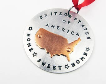 America Ornament - Home Sweet Home - Metal Christmas Ornament With United States Map