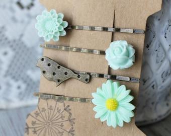Bird Bobby Pin Set - Bobby Pin Set of 4 - Mint Bobby Pins - Bird Hair Accessory - Flower Bobby Pins - Floral Bobby Pins - Bird Hair Pins