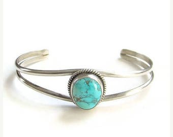 ON SALE Vintage Navajo Turquoise Cuff Bracelet Signed Cortez H/P.Y. Sterling Silver Native American