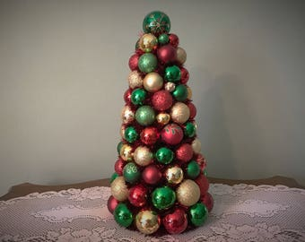 """Christmas TABLE TOP Tree 17"""" Shatterproof Red Green Gold Christmas Decor"""