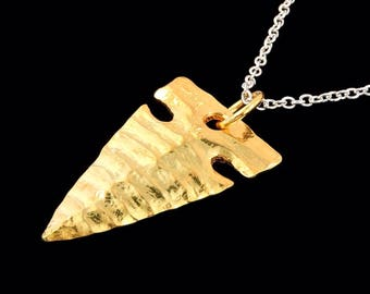 Large Sterling Silver22k Yellow Gold Overlay Obsodian Style Arrowhead Pendant or Necklace (Optional Chain)