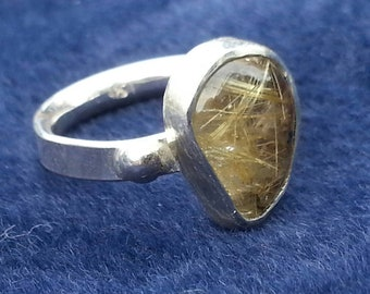 Rutilated Quartz Ring Size #6