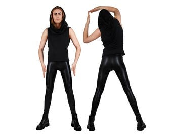 Men's Shiny Black Leather-Look Leggings, Meggings, Glam Rock Stage Wear, 80's Heavy Metal Clothing, Spandex Pants, by LENA QUIST