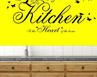 The Kitchen is the Heart of the Home Quote, Vinyl Wall Art Sticker Decal Mural. Home, Wall Decor. Kitchen, Dining room