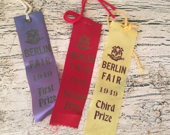 Vintage 1949 Berlin Fair Farm Ribbons 1st,2nd 3rd prize