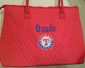 Texas Rangers RED Quilted Large Tote Bag Custom Embroidery
