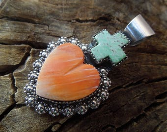 Sacred Cross Sacred Heart Sterling Pendant - Orange Spiny Oyster and Green American Turquoise - Cross Heart Charm Necklace
