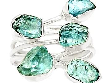 Aquamarine or Apatite Crystal Fragment Ring. Size 8 Ring. Raw & Real! 2771