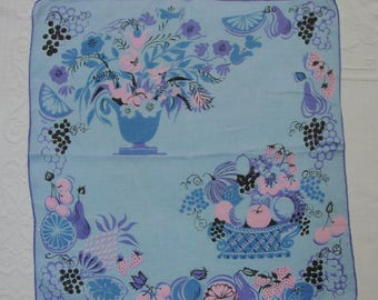Vintage Hanky Handkerchief Signed Pat Pritchard Blue with Baskets of Fruit and Flowers
