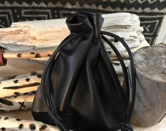 Leather Drawstring Pouch Bag - Leather Sack Bag - Black Bag - Pouch Bag