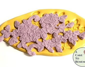 "Flowers and swirls lace mold for lace cake decorations. 5"" silicone mold, chocolate, polymer clay, resin, cake lace, flexible mold M5180"