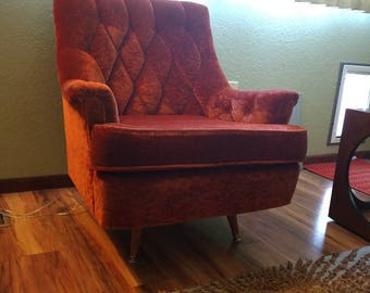 Mid Century Crushed Velvet Chair LOCAL ONLY