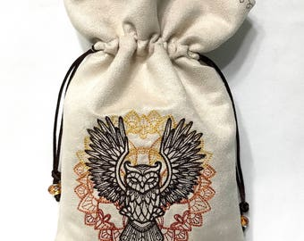 AUTUMNAL OWL - Embroidered Drawstring Bag for Tarot Cards, Runes, Dice - LARP Costume Accessory