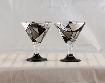 Granite, hand-painted mini martini glasses