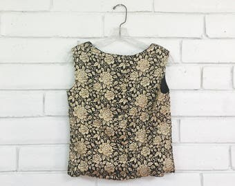 60's METALLIC SHELL TOP vintage sleeveless tank top gold floral jacquard 1960s madmen S