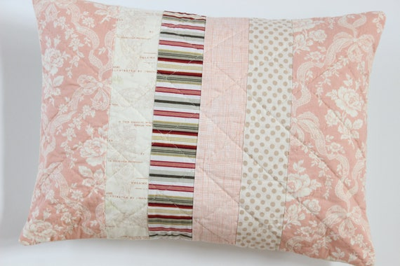 Pink Patchwork Quilted Pillow Cover