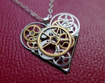 "Steampunk Heart Necklace ""Burns"" Clockwork Heart Pendant Industrial Organic Mechanical Watch Gear Love Gift Wife Girlfriend Present"
