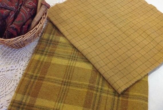 2) fat 1/4 yards, Starlight Gold, Hand Dyed Wool Fabric for Rug Hooking & Applique, W346, Primitive Gold, Rich Gold Wool Fabric