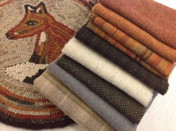 Rug Hooking KIT, Woodland Fox Chair Pad or Table Mat , J760, DIY Rug Hooking Kit, Primitive Fox, Woodland Mat, Fox Mat