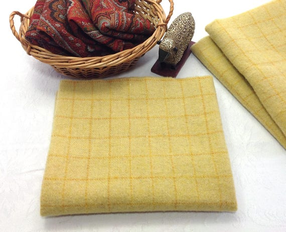 Happy Yellow, Mill Dyed Wool Fabric for Rug Hooking and Applique, Select-a-size, W412, Yellow Windowpane, Golden Yellow, Country Yellow