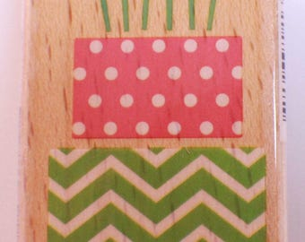 Birthday Cake with Candles Hampton Art Studio G Wooden Rubber Stamp