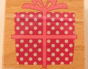 Polk-a-Dot Gift Present Hampton Art Studio G Wooden Rubber Stamp